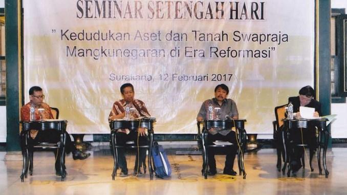 Pemaparan Seminar Kedudukan Aset dan Tanah Swapraja Mangkunegaran