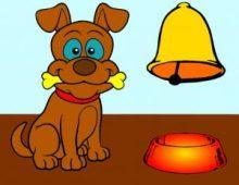 Perro de Pavlov, con su comida y la campana