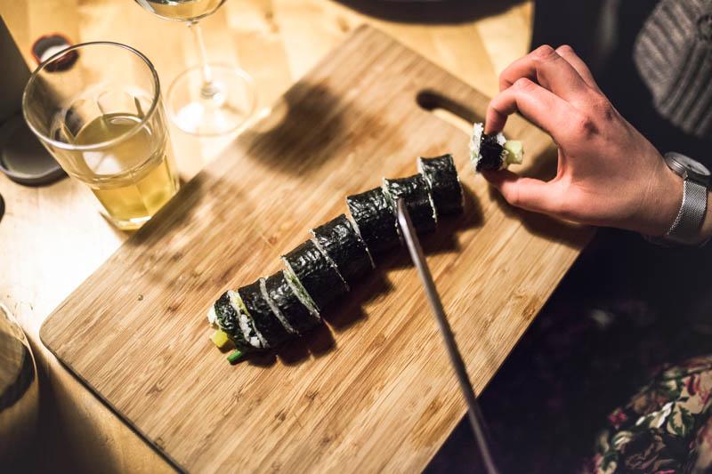A susi maki roll cut into pieces