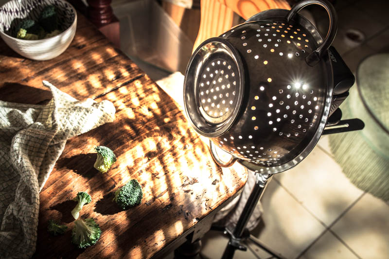 Sometimes your kitchen utilities such as the strainer also make great light shapers for your photographic experiments.