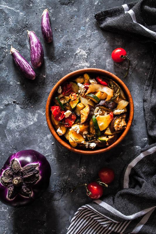 Warm aubergine and courgette salad // Warm egg plants and zucchini potato salad.