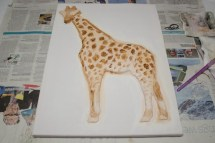 I started to use some brown to tackle the pattern on the giraffe and add some more tone but I wasn't happy with how it was looking at this stage. It actually took me a few weeks of thinking and putting it off before I could get my head around what I needed to do to progress any further with it.