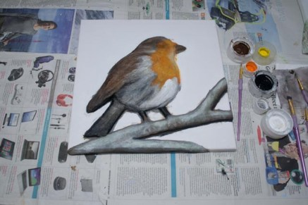 """""""Robin"""" 3D Acrylic Painting - The Painting Stage continued. Starting to add details."""