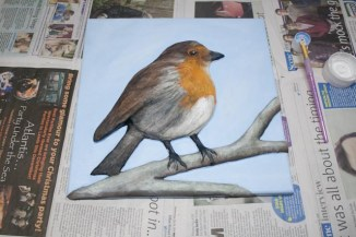 """""""Robin"""" 3D Acrylic Painting - The Painting Stage finished. I thought the background was going to be simple to do but when I'd done just a plane light blue it didn't quite look right so then I added some white to give the slight effect of clouds in the sky and it seemed to work better."""