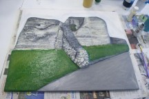"Starting to paint the grass and path foreground of the ""Pontefract Castle"" 3D Acrylic Painting by Purple Faye"