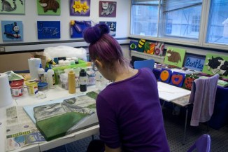 "Working in my studio in Pontefract showing my painting the ""Pontefract Castle"" 3D Acrylic Painting"