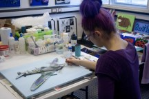 "Me (Purple Faye) in my Pontefract studio finishing off the the ""Spitfire MK VB"" 3D Acrylic Painting"