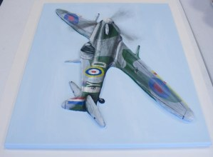 "Other side view of the finished ""Spitfire MK VB"" 3D Acrylic Painting by Purple Faye"