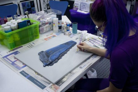 "A shot of me in my Pontefract studio, painting the background on the ""Mallard No. 4468"" 3D Acrylic Painting."
