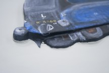 "Close up of the finished ""Mallard No. 4468"" 3D Acrylic Painting showing how it's 3D"