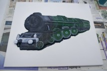 "More details painted on ""The Flying Scotman No. 4472"" 3D Acrylic Painting."