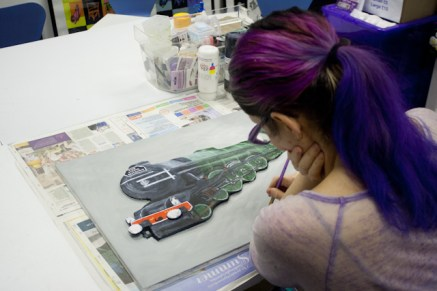 "This photo shows me painting the background on More details painted on ""The Flying Scotman No. 4472"" 3D Acrylic Painting."