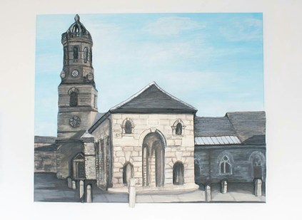 """Buttercross and St Giles Church"" 3D Acrylic Painting."