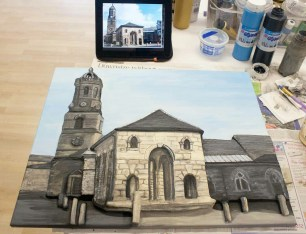"Finished painting the Pontefract ""Buttercross and St Giles Church"" 3D Acrylic Painting."