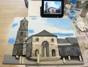 "Working on the sky of the Pontefract ""Buttercross and St Giles Church"" 3D Acrylic Painting."