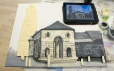 "Finishing the details on the St Giles Church part of the Pontefract ""Buttercross and St Giles Church"" 3D Acrylic Painting."