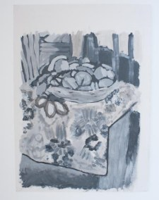 Tonal grey version in acrylic paint of Basket with oranges by Henry Matisse