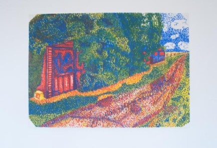 Pointillism acrylic painting, using coloured dots/dabs of paint to make up the image, of the old overgrown garages near to my parent's house.