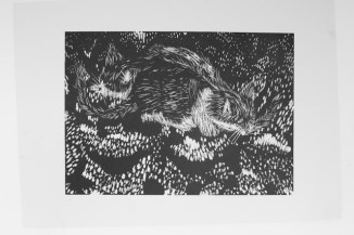Black and white lino print of Rascal and Missy cat