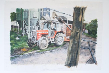 Acrylic painting of a tractor