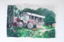 Oil pastel drawing of a tractor