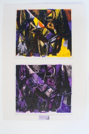 Black/white screen print on painted background (top) and coloured paper collage background (bottom) version of Fabulous Beast II, Horse painting by Franz Marc