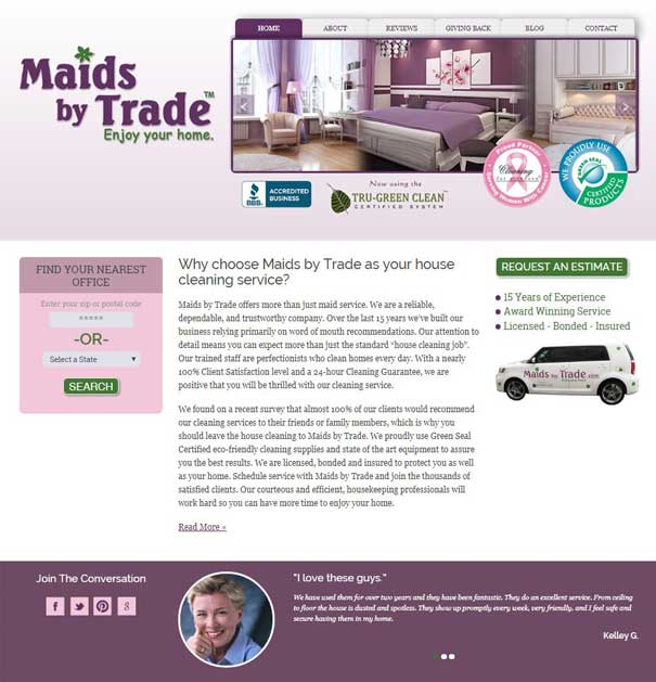 Maids by Trade's Website with Location Finder