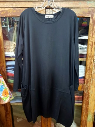 Baci Black Long Sleeve Bucket Pocket Dress 5558