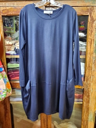 Baci Navy Long Sleeve Bucket Pocket Dress 5423