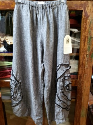 Krista Larson Cabbage Rose Black Crossweave Pants 2411
