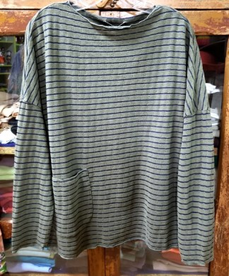 cut loose One Size Pocket Pullover Green Striped Blouse 2607