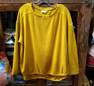 Prairie Cotton Loose Long Sleeve Drop Shoulder Top in Mustard 0013