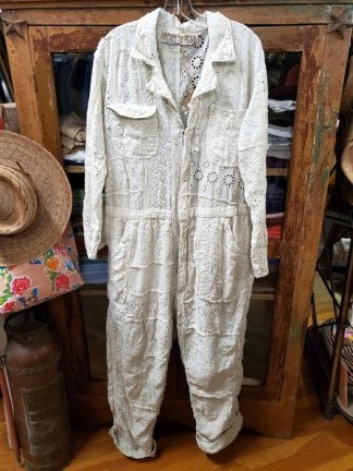 Magnolia Pearl Cotton Eyelet Patchwork Workwear Jumper Overalls 020