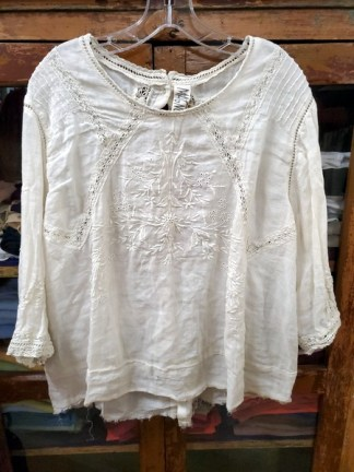 Magnolia Pearl Linen Ramie Embroidered Charlotte Blouse Top 704- Moonlight