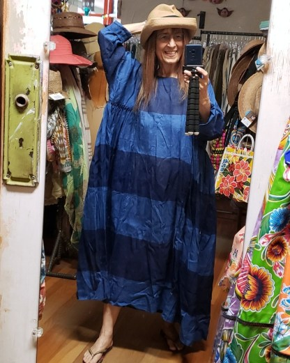 Véritécoeur Blue Border Linen Dress 0100