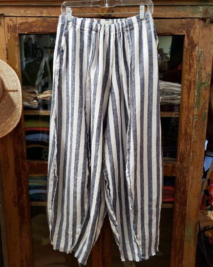Krista Larson Navy Wide Stripe Origami Pants