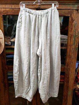 Krista Larson Grey Pinstriped Origami Pants