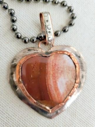 Cindy Bolin Copper and Silver Jasper Heart on Oxidized Chain