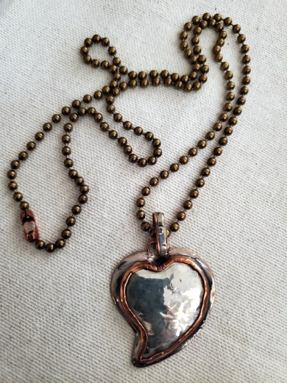Cindy Bolin Copper and Silver Heart on Copper Chain
