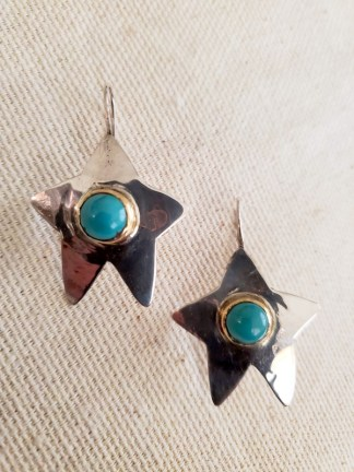 Cindy Bolin Sterling Silver and Tourquoise Star Earring