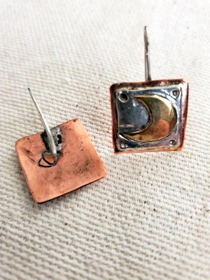 Cindy Bolin Sterling Silver/Brass/Copper Star & Moon Earrings