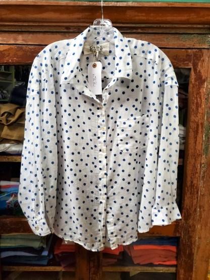 "Metta Melbourne ""Edie"" Wrap Shirt in Blue Dot"