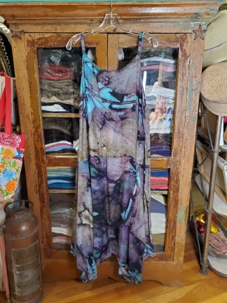 Krista Larson Teal Eco Print Long Pinwheel Slip