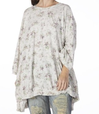 Magnolia Pearl Oversized Floral Print Francis Pullover T Top 885 - Wine Rose