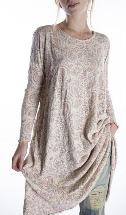 Magnolia Pearl Cotton Jersey Hand Block Print Dylan T Dress 555 -- Durga