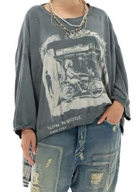 Magnolia Pearl Cotton Jersey Oversized Hi-Lo Indian Moto Pullover Top 653 Ozzy