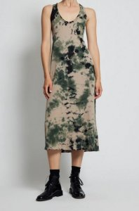 Raquel Allegra Army Calico Jersey Tank Dress