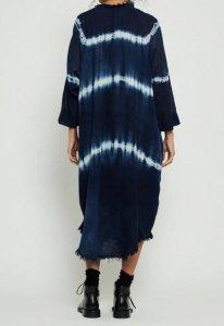 Raquel Allegra Indigo Gauze Poet Dress 3969TD