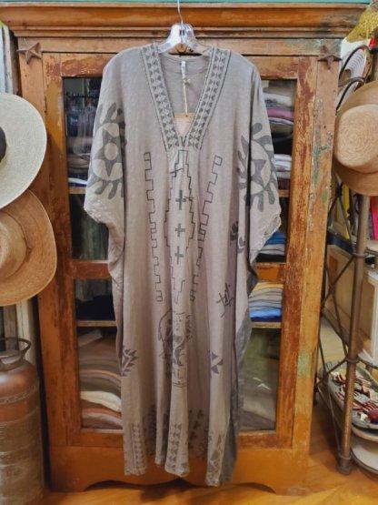 Magnolia Pearl Monarch Native Art Veda Kaftan Dress 561 Clay