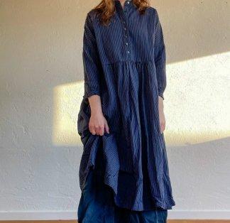 Metta Melbourne Faye Dress 5343 Seersucker Dark Navy Stripe